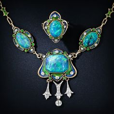 Learn more about Opal at Antique Jewelry University!  Art Nouveau Black Opal Enamel Necklace and Ring