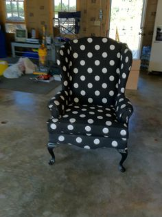 my version of red polka dot wingback chair Polka Dot Chair, Polka Dot Fabric, Polka Dots, Family Room Furniture, Cool Furniture, Furniture Ideas, Wingback Chairs, Wing Chair, Fabric Sofa