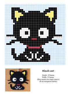 Black cat hama beads pattern - use as crochet or cross stitch chart! Hama Beads Design, Hama Beads Patterns, Loom Patterns, Beading Patterns, Jewelry Patterns, Beaded Cross Stitch, Cross Stitch Charts, Cross Stitch Embroidery, Cross Stitch Patterns
