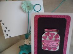 Mason Jar  filled with LOVE and HEARTS Card by VintageLover818, $2.50