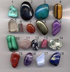 1-turquoise, 2-hematite, 3-chrysocolla, 4-tigers eye, 5-quarts, 6-tourmaline, 7-carnelian, 8-pyrite, 9-sugilite, 10-malachite, 11-rose quarts, 12-snowflake obsidian, 13-ruby, 14-moss agate, 15-jasper, 16-amethyst, 17-blue lace agate, 18-lapiz lazuli