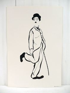 Vintage Charlie Chaplin Illustrated Poster by vintagegoodness Charlie Chaplin, Stencil Art, Stencils, Bleistift Tattoo, Vintage Prints, Vintage Posters, Charles Spencer Chaplin, Poster Display, Arte Pop