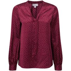 Pure Collection Harper Silk Tie Neck Blouse, Merlot Spot Print (£64) ❤ liked on Polyvore featuring tops, blouses, purple neck tie, purple blouse, tie neck tie, long sleeve tie neck blouse and long sleeve tops