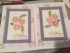 A5 birthday cards using a tonic stamp set and stampin' up inks.
