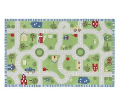 Play In The Park Rug (5'x8'), Cut and looped yarns in a variety of heights form cars, streets, trees and houses. $299 at Pottery Barn Kids
