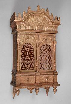 Door Design Interior, Interior Decorating, Decorating Ideas, Arabesque, Handmade Wood Furniture, Home Temple, Pooja Room Design, Islamic Decor, Temple Design
