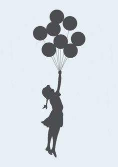 Poster Flying Girl banksy | Dependure | Elo7