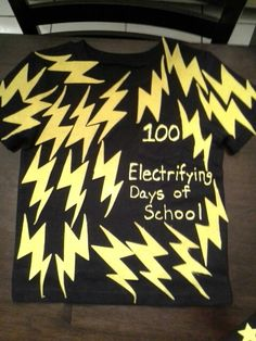 "100 Days of School Shirt 100 ""Electrifying Days of School"" Shirt is front & back."