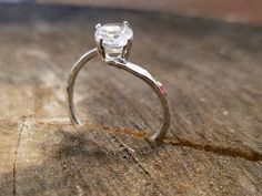 White topaz ring hammered sterling silver and white topaz ring