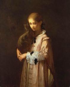 """William Morris Hunt. """"Girl with Cat"""" (1856)"""