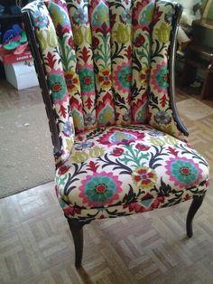 Custom reupholstered polka dotted back