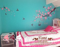 white cherry blossom wall decals flower vinyl wall decals by cuma