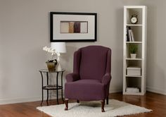 Diamond Stretch Merlot Wing Chair Slipcover. Deeply embossed diamond pattern upholstery, merlot form fit slip cover design, beautiful living room, bedroom, deep red home decor