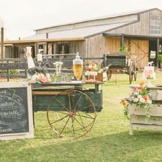 Rustic drink and dessert tables