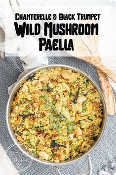 All the fluffy yellow rice deliciousness of traditional paella, spiked with summer's best wild mushrooms for an easy vegetarian meal, myVegetarian Summer Wild Mushroom Paella with Chanterelles and Black Trumpets is a fun modern adaptation of a traditional dish. Vegetarian Recipes Easy, Quick Recipes, Veggie Recipes, Dinner Recipes, Veggie Meals, Mushroom Side Dishes, Mushroom Recipes, Wild Mushrooms, Bulgur
