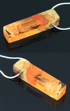 Wood and resin necklace. Orange pendant. Handmade jewelry by WoodAllGood #WoodAllGood
