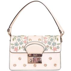 Red Valentino Leather bag with embroidery (52.395 RUB) ❤ liked on Polyvore featuring bags, handbags, shoulder bags, multi, leather shoulder bag, leather purse, leather handbags, summer purses and summer handbags
