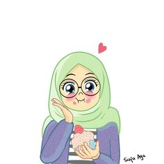 Cake Yummy by ayusufaah on DeviantArt Love Cartoon Couple, Cute Cartoon Girl, Cartoon Art, Hijab Drawing, Cute Muslim Couples, Islamic Cartoon, Bff Drawings, Anime Muslim, Hijab Cartoon