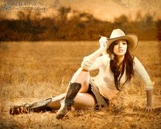 like this post for cowgirl photos... not with skirt though... jeans instead...