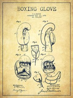 Boxing Glove Patent Drawing From 1896 - Vintage Drawing
