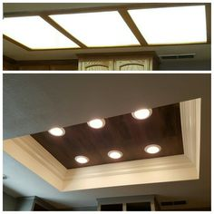Florescent lighting makeover! Vinyl floor wood planks inlay with LED lighting then finished with crown molding!