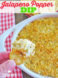 This jalapeno popper dip is a warm dip recipe with a crunchy topping that will be the surprise hit at any gathering. Super Bowl party or the holidays!
