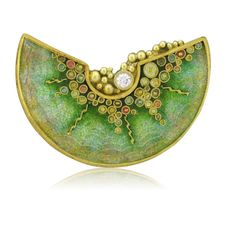 Brooch by Marilyn Druin. 18k gold, enamel, diamond.
