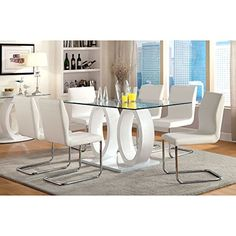 Furniture of America Damore Contemporary 7 Piece High Gloss Dining Table Set - White