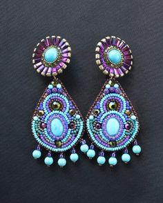 Turquoise & Amethyst Crystal Earrings