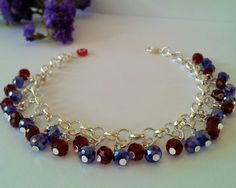 Chain bracelet with crystal beads // for her // casual bracelets // handmade bracelets by BanSisDesign on Etsy