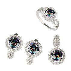 Fashion 925 Silver Plated Copper Rainbow Zircon Earring Ring And Pendants Set – USD $ 36.79