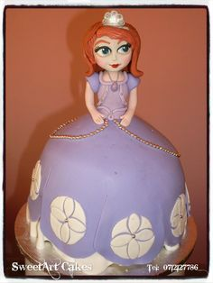 Sofia first doll cake.  (Handcrafted gum paste Sofia) (Decor available for sale separately)  For orders and more info email Sweetartbfn@gmail.com or call 0712127786.  www.facebook.com/SweetArtCakesBfn