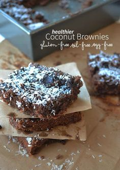 These coconut brownies are gluten-free, oil-free, and egg-free. Delicious and easy to make.