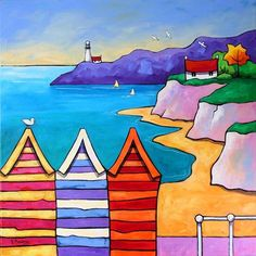 The Lookouts by Gillian Mowbray Naive Art, Acrylic Art, Painting For Kids, Bunt, Art Lessons, Beach Art, Seaside Art, Whimsical Art, Folk Art