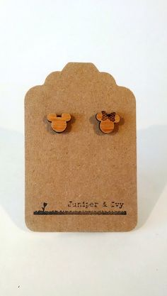 Disney Mickey and Minnie Mouse Silhouette on Alder Wood Laser Engraved and Cut Post Titanium Stud Earring Pair Cameo by JuniperandIvy on Etsy https://www.etsy.com/listing/192362791/disney-mickey-and-minnie-mouse