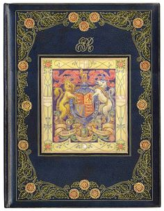 """TRIAL BINDING - ROYALTY A magnificient """"trial binding"""" by Cedric Chivers of Bath, blue crushed morocco, elaborately gilt-tooled, the upper cover with a wide outer border of foliage and English roses in gilt and red and green morocco onlays enclosing a large central panel of """"Vellucent"""" with the Royal Arms, the panel surmounted with the monogram of Queen Elizabeth II, gilt dentelles with roses in red morocco onlays, folio (415 x 310mm.), [1950s]"""