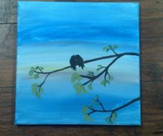 Love Birds Acrylic on Canvas by JustPeachyLifeGifts on Etsy, $20.00
