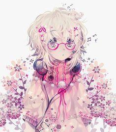 Garota Anime Fofa-Música-Cute-Rosa <3