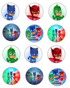 PJ Masks inspired cupcake toppers or stickers favor tags Pj Masks Cupcake Toppers, Pj Mask Cupcakes, Gift Tags Printable, Printable Stickers, Free Printables, Pj Masks Stickers, Pj Max, Festa Pj Masks, Homemade Stickers