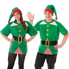 MENS LADIES JOLLY ELF SANTA'S HELPER GROTTO FANCY DRESS COSTUME TOP BELT AND HAT | eBay