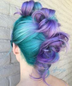 Teal-blue and purple hair