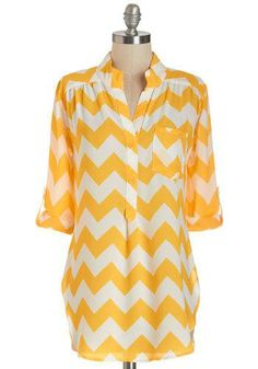Please Allow Me Top in Yellow. This yellow-and-white chevron top highlights your courteous, cute nature. Cute Blouses, Blouses For Women, Spring Summer Fashion, Autumn Winter Fashion, Spring Wear, Style Me, Cool Style, Vintage Shorts, Mellow Yellow