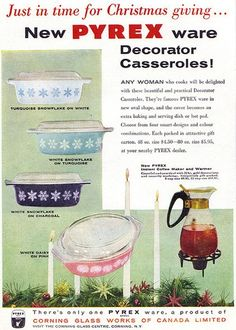 These Pyrex casseroles were around when I was an infant. Check those prices; those 1956 dishes would cost us more today at Value Village! It would be interesting to talk to Mom to find out when she got hers.