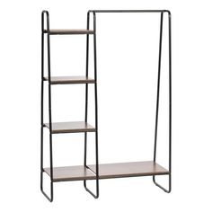 Clothing storage made easy. This metal garment rack with wood shelf provides a convenient closet solution for small spaces. The built-in wood shelves at the top and bottom are great for storing shoes or folded clothes, while the two foot wide closet Wooden Shelves, Glass Shelves, Storage Shelves, Shelving, Wood Shelf, Wall Shelves, Brown Wood, Dark Brown, Black Dark