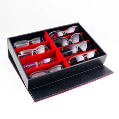 Black Leatherette Sunglasses/ Jewelry/ Watch Storage Display Case |  Overstock.com