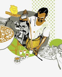 Bombay Duck Designs: Studio of Indian illustrator and visual artist, Sameer Kulavoor. Indian Illustration, Digital Illustration, Restaurant Poster, Restaurant Identity, Restaurant Design, Food Poster Design, Om Namah Shivaya, Indian Folk Art, India Art