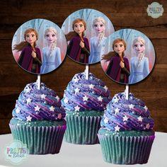 Frozen Theme Cupcakes, Frozen Cupcake Toppers, Cupcakes For Boys, Themed Cupcakes, Cupcake Picks, Elsa Birthday Party, Disney Frozen Birthday, 3rd Birthday Cakes, Geek Birthday