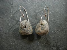 granite beach stone lasso earrings by thegildedlilystore on Etsy