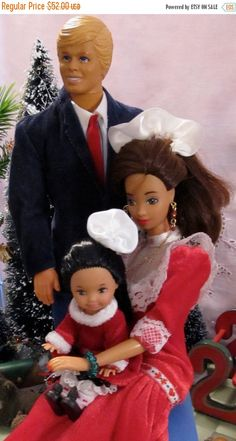 ON SALE 50% Vintage Barbie Ken And Their Toddler by DressMeDoll