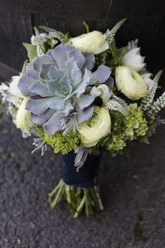 succulent wedding flower bouquet